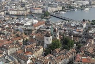 Una vista aérea de Ginebra, Suiza. ONU/Jean-Marc Ferré.