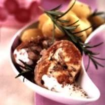 Lomo de conejo en crema al romero